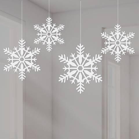 Bilde av Julepynt Snøkrystaller Hengende Dekorasjon 4stk
