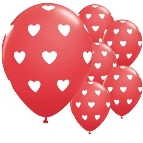 Bilde av Ballonger Røde med Hjerter Latex 27cm 6stk