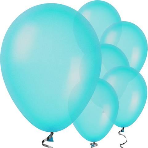 Bilde av Ballonger Caribbean Blue Pearlised Lateks 28cm 10stk