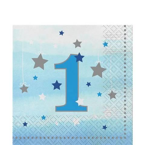 Bilde av Twinkle One Little Star 1 År Blå Servietter 33cm 16stk